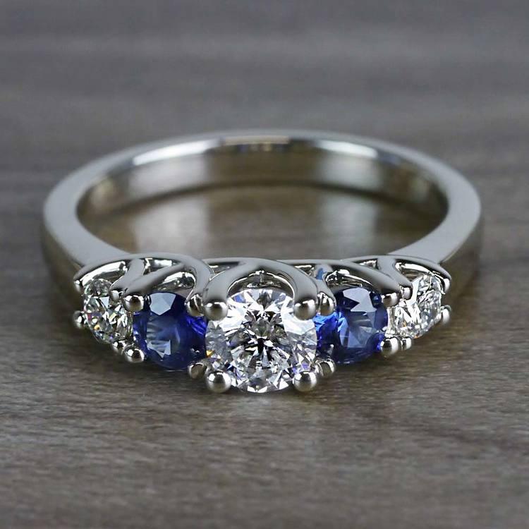 Sparkling Trellis Gemstone Sapphire and Diamond Ring