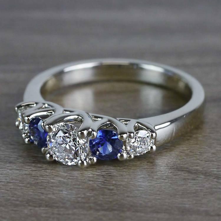 Sparkling Trellis Gemstone Sapphire and Diamond Ring angle 2