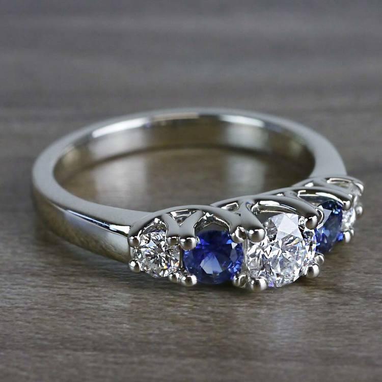 Sparkling Trellis Gemstone Sapphire and Diamond Ring angle 3