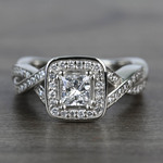 Custom Split Shank Princess Diamond Halo Engagement Ring - small