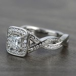 Custom Split Shank Princess Diamond Halo Engagement Ring - small angle 2