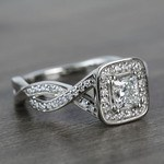 Custom Split Shank Princess Diamond Halo Engagement Ring - small angle 3