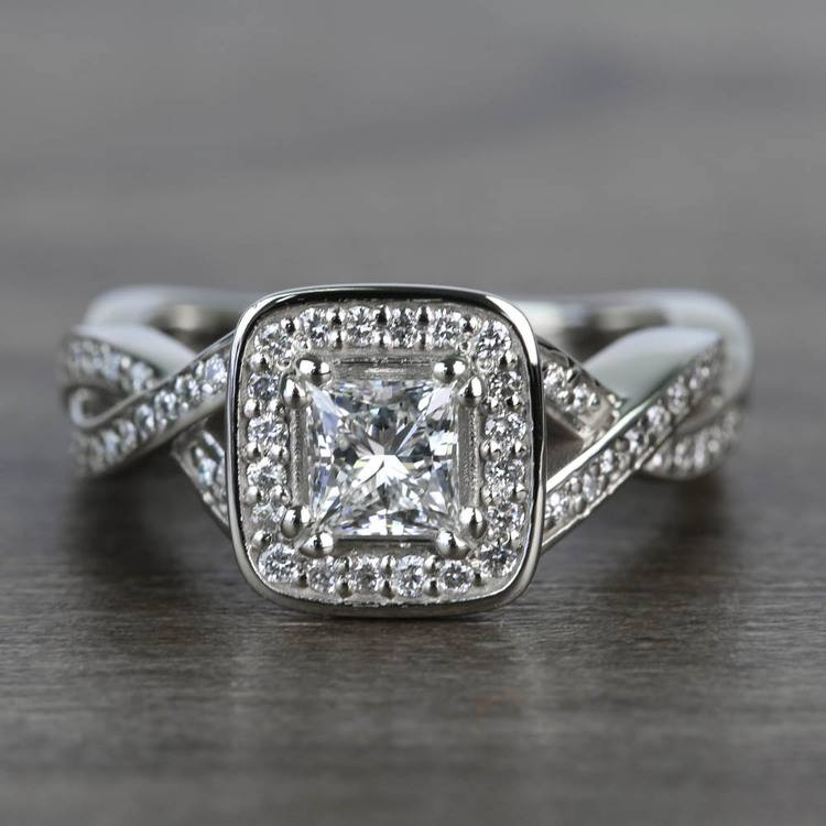 Custom Split Shank Princess Diamond Halo Engagement Ring