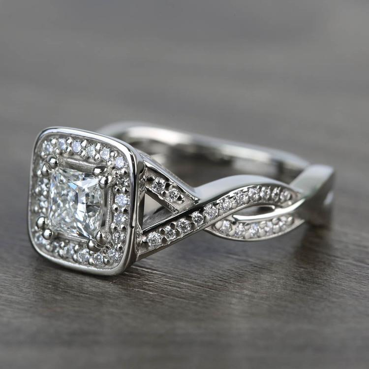 Custom Split Shank Princess Diamond Halo Engagement Ring angle 2