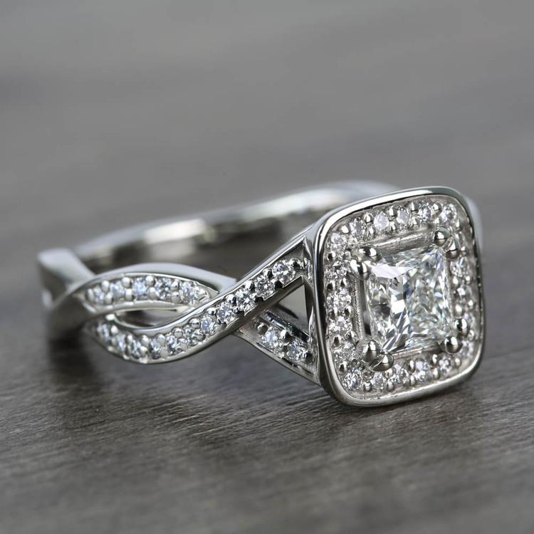 Custom Split Shank Princess Diamond Halo Engagement Ring angle 3