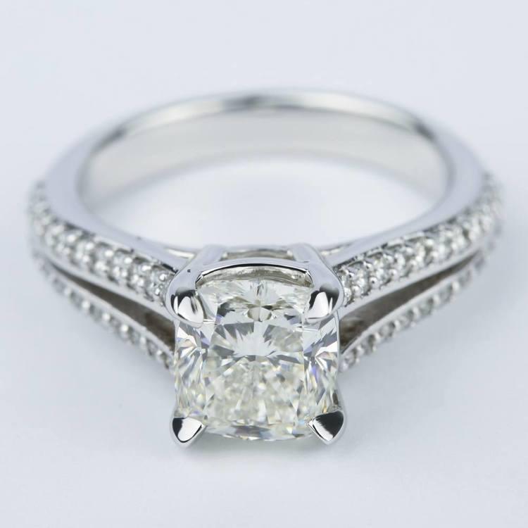 Split Shank Cushion Diamond Engagement Ring (2 Carat)