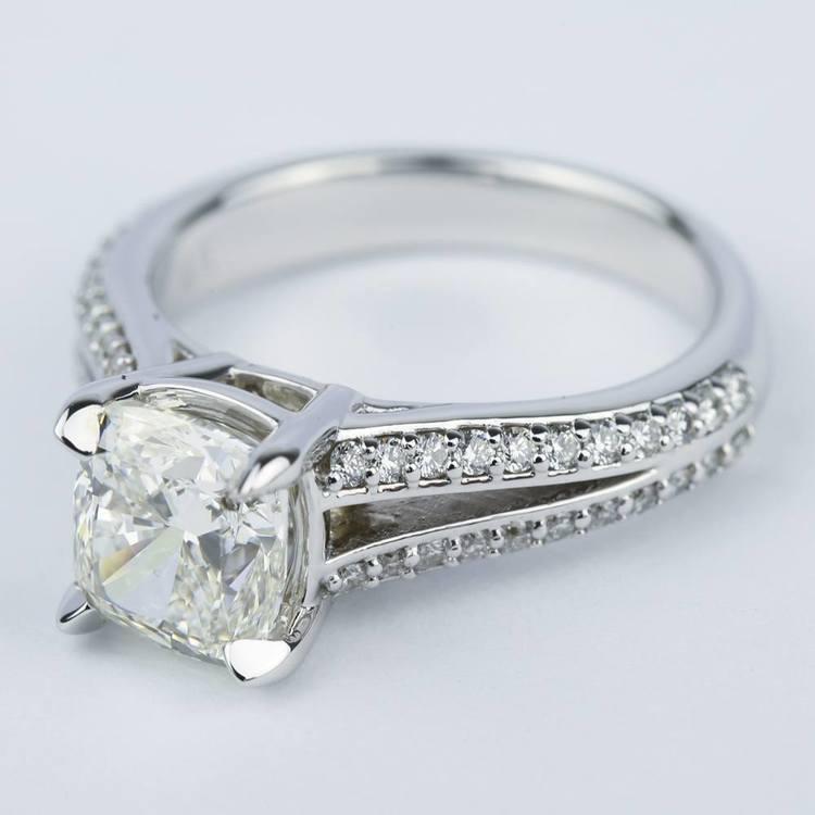 Split Shank Cushion Diamond Engagement Ring (2 Carat) angle 2