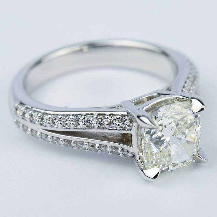 Split Shank Cushion Diamond Engagement Ring (2 Carat) angle 3