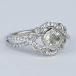 Split Shank Bezel Cushion Diamond Engagement Ring by Parade - small angle 3