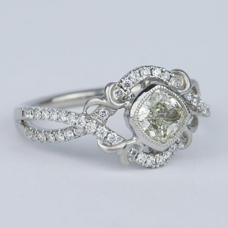 Split Shank Bezel Cushion Diamond Engagement Ring by Parade angle 3