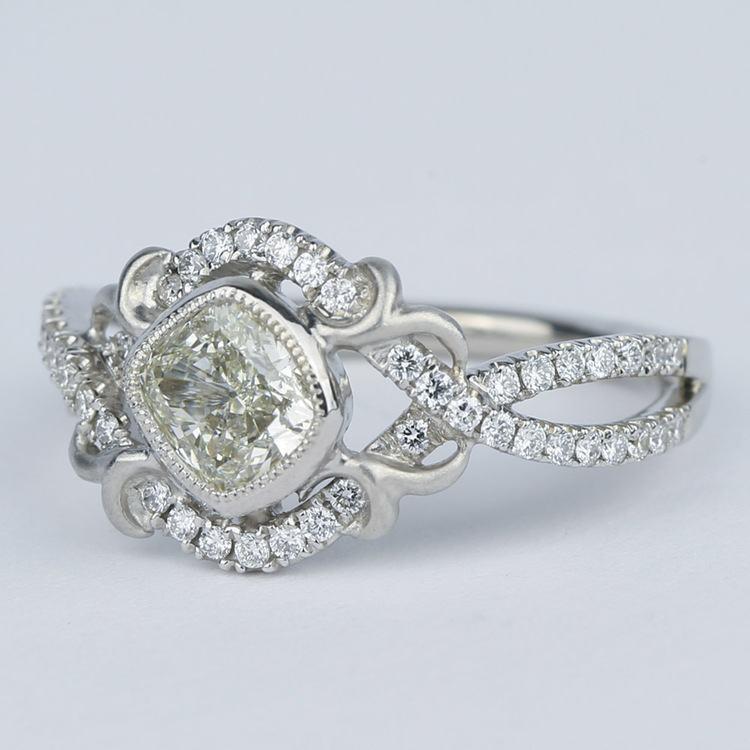 Split Shank Bezel Cushion Diamond Engagement Ring by Parade angle 2