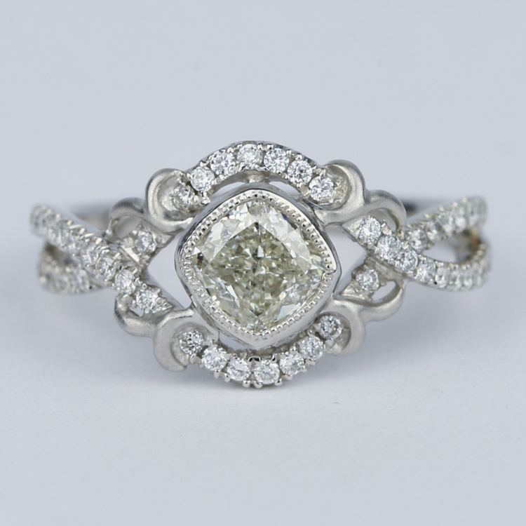 Split Shank Bezel Cushion Diamond Engagement Ring by Parade