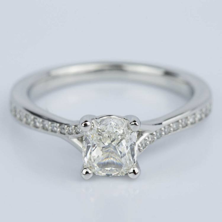 Split Shank Cushion Micropave Diamond Ring in Platinum (1.20 ct.)