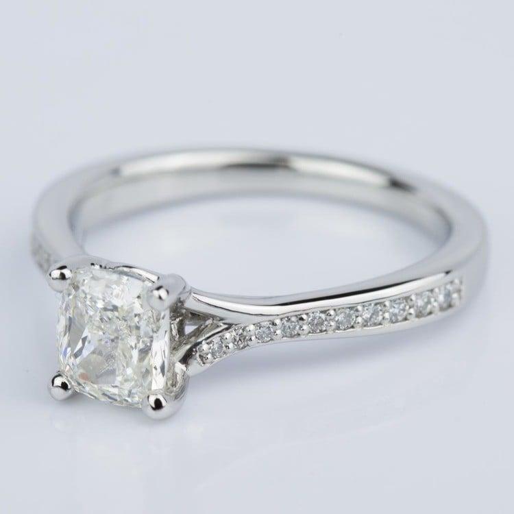 Split Shank Cushion Micropave Diamond Ring in Platinum (1.20 ct.) angle 2