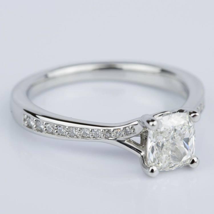 Split Shank Cushion Micropave Diamond Ring in Platinum (1.20 ct.) angle 3