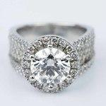 Split Shank Diamond Bridge 2.40 Carat Round Halo Engagement Ring - small