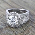 Split Shank Diamond Bridge 2.40 Carat Round Halo Engagement Ring - small angle 5