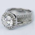 Split Shank Diamond Bridge 2.40 Carat Round Halo Engagement Ring - small angle 2