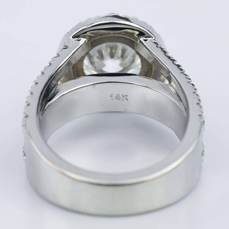 Split Shank Diamond Bridge 2.40 Carat Round Halo Engagement Ring angle 4