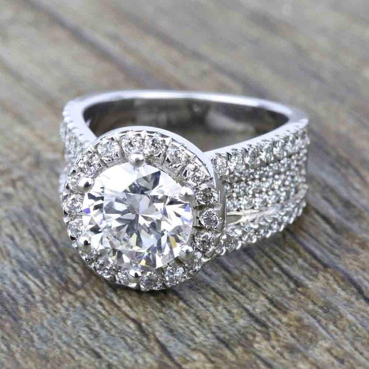 Split Shank Diamond Bridge 2.40 Carat Round Halo Engagement Ring angle 5