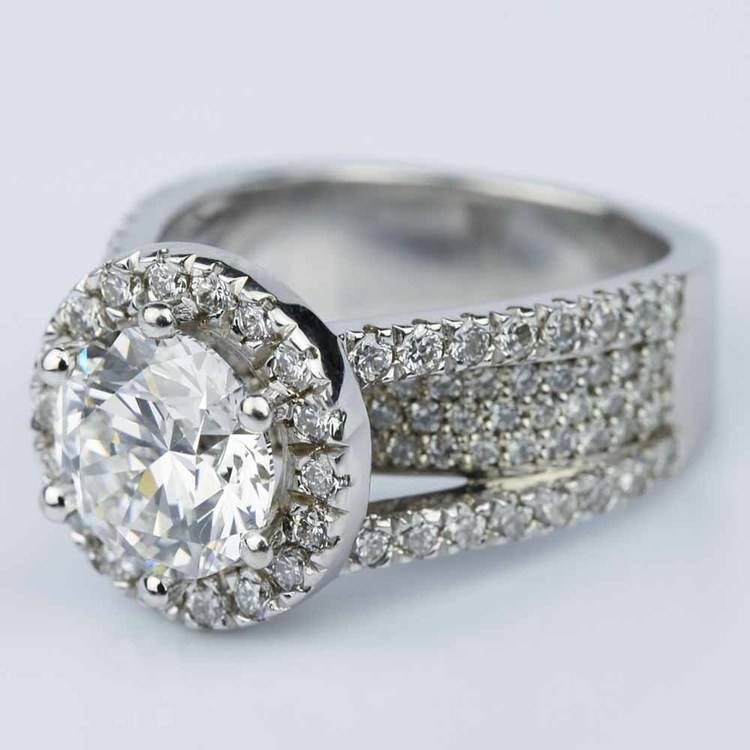 Split Shank Diamond Bridge 2.40 Carat Round Halo Engagement Ring angle 2