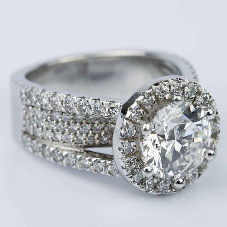 Split Shank Diamond Bridge 2.40 Carat Round Halo Engagement Ring angle 3