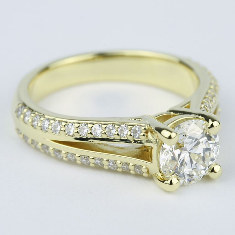 Split Shank Ring Setting with Super Ideal Round Diamond angle 3