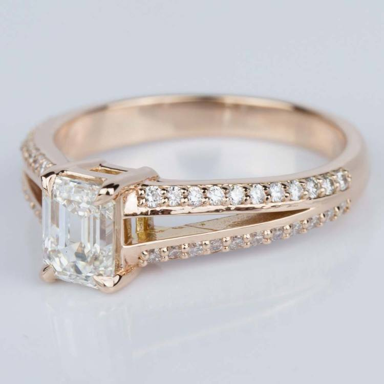Split Shank Diamond Engagement Ring in Rose Gold (1.20 ct.) angle 2