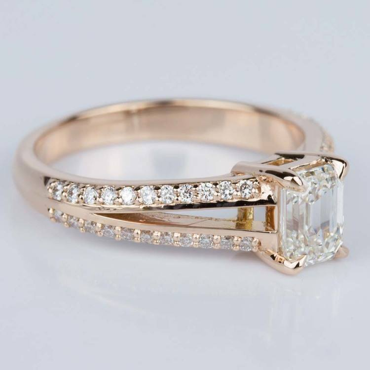 Split Shank Diamond Engagement Ring in Rose Gold (1.20 ct.) angle 3