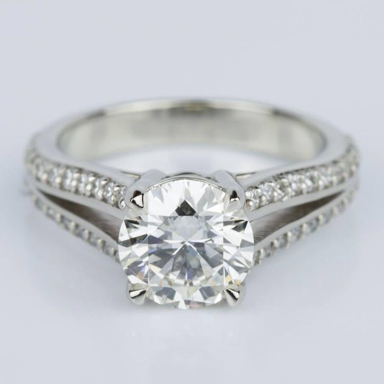 Split Shank Diamond Engagement Ring in White Gold (1.51 ct.)