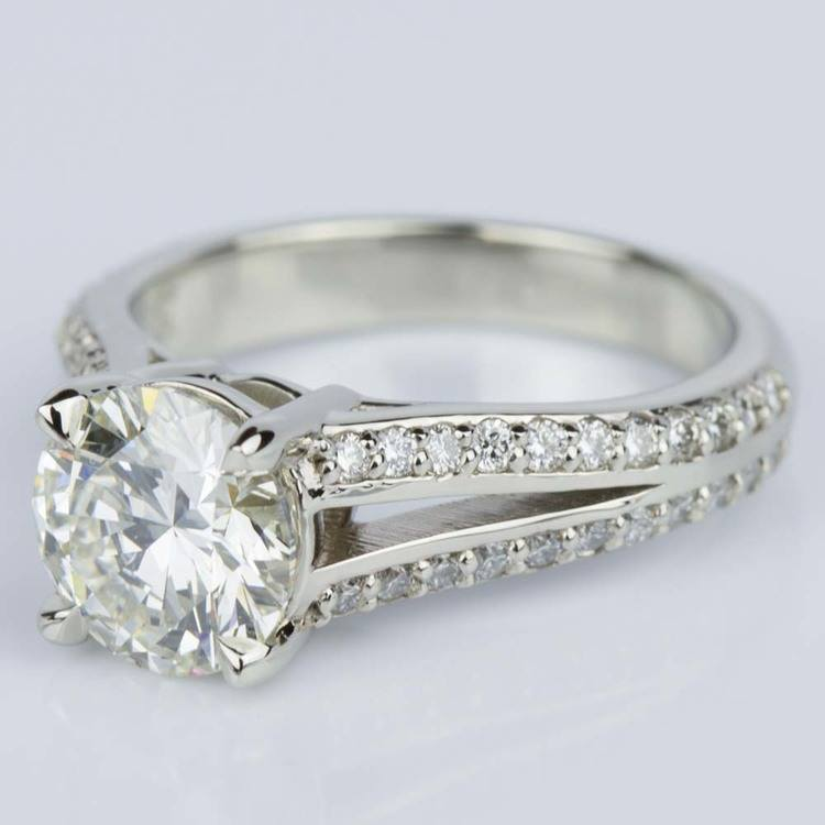 Split Shank Diamond Engagement Ring in White Gold (1.51 ct.) angle 2