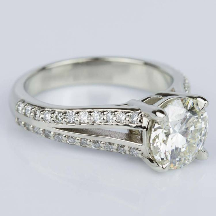 Split Shank Diamond Engagement Ring in White Gold (1.51 ct.) angle 3