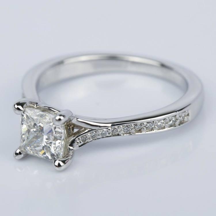 Split Shank Engagement Ring with Princess Diamond (1.07 ct.) angle 2