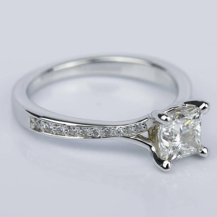 Split Shank Engagement Ring with Princess Diamond (1.07 ct.) angle 3