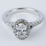 Custom Halo Oval Diamond Engagement Ring (0.81 ct.) - small
