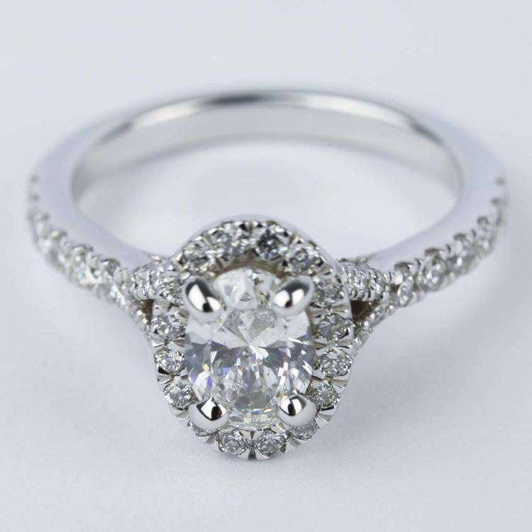 Custom Halo Oval Diamond Engagement Ring (0.81 ct.)