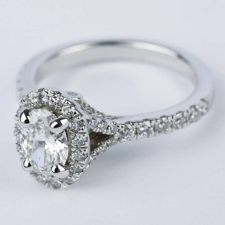 Custom Halo Oval Diamond Engagement Ring (0.81 ct.) angle 2