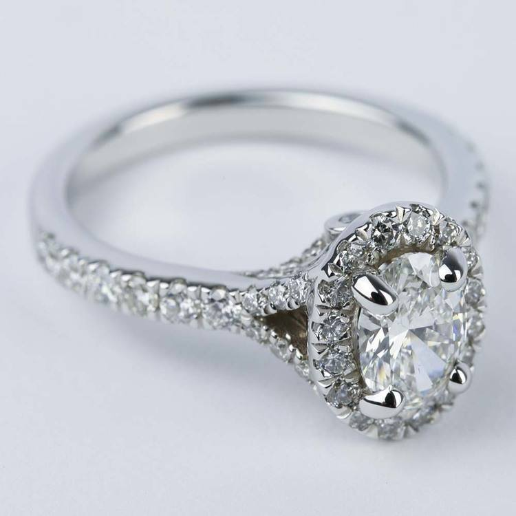 Custom Halo Oval Diamond Engagement Ring (0.81 ct.) angle 3