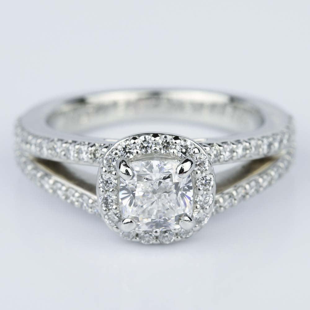 Split Shank Halo Cushion Diamond Engagement Ring in Platinum 1 01 ct
