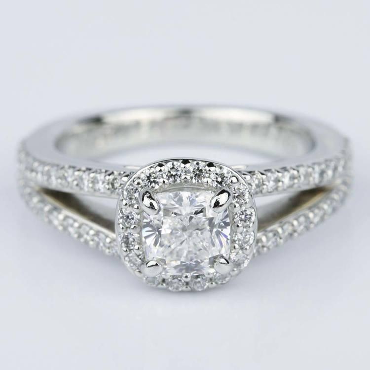 Split Shank Halo Cushion Diamond Engagement Ring in Platinum (1.01 ct.)