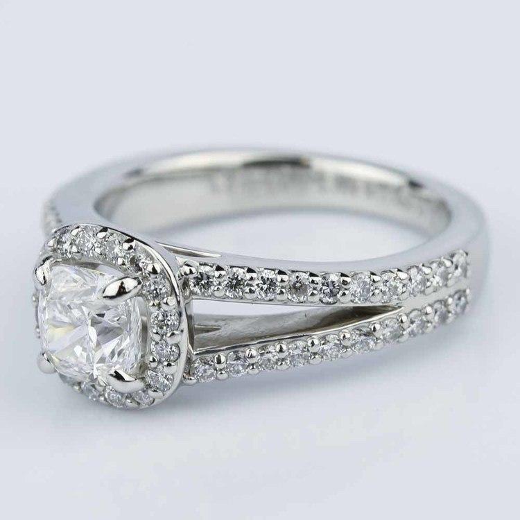 Split Shank Halo Cushion Diamond Engagement Ring in Platinum (1.01 ct.) angle 2