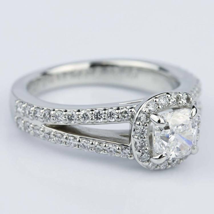 Split Shank Halo Cushion Diamond Engagement Ring in Platinum (1.01 ct.) angle 3