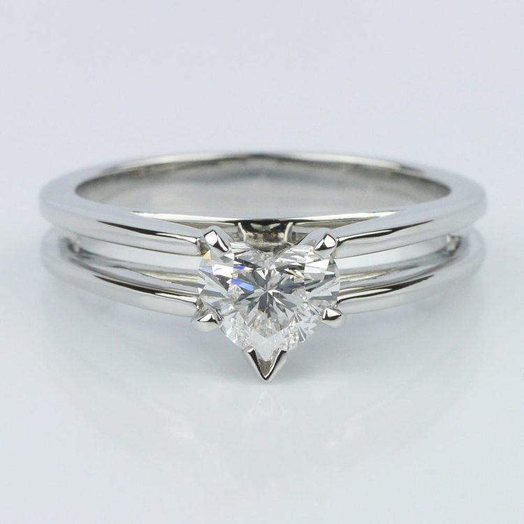 Split Shank Heart Diamond Solitaire Ring (0.58 ct.)