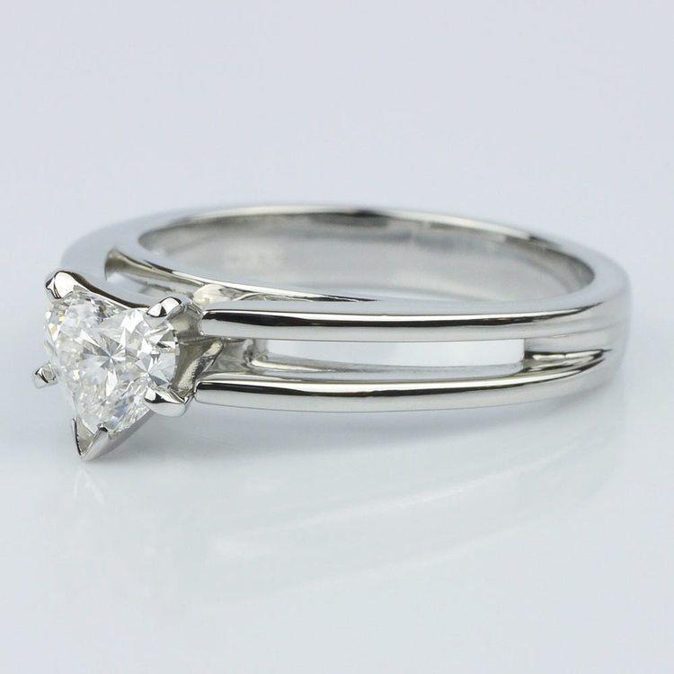 Split Shank Heart Diamond Solitaire Ring (0.58 ct.) angle 2