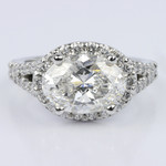 Horizontal Oval Halo Diamond Engagement Ring (2.26 ct.) - small