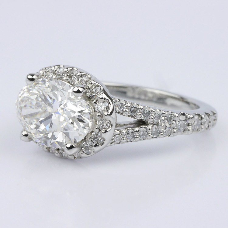 Horizontal Oval Halo Diamond Engagement Ring (2.26 ct.) angle 2