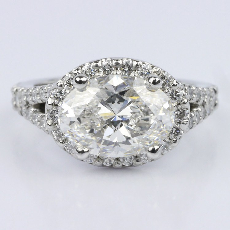 Horizontal Oval Halo Diamond Engagement Ring (2.26 ct.)