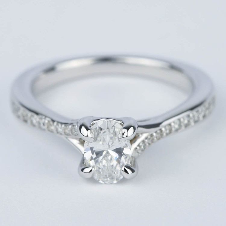 Split Shank Micropave Oval Diamond Engagement Ring (1/2 Carat)