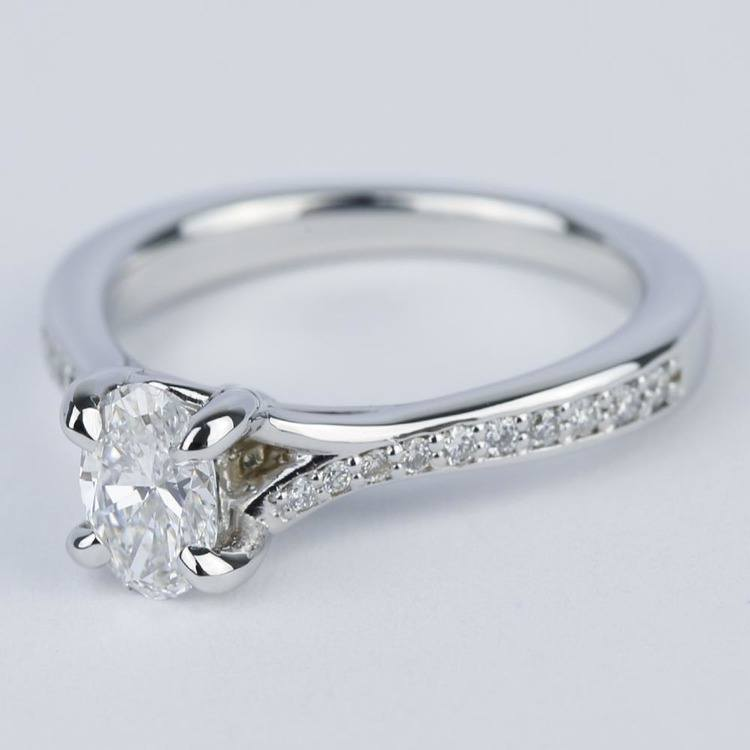 Split Shank Micropave Oval Diamond Engagement Ring (1/2 Carat) angle 2