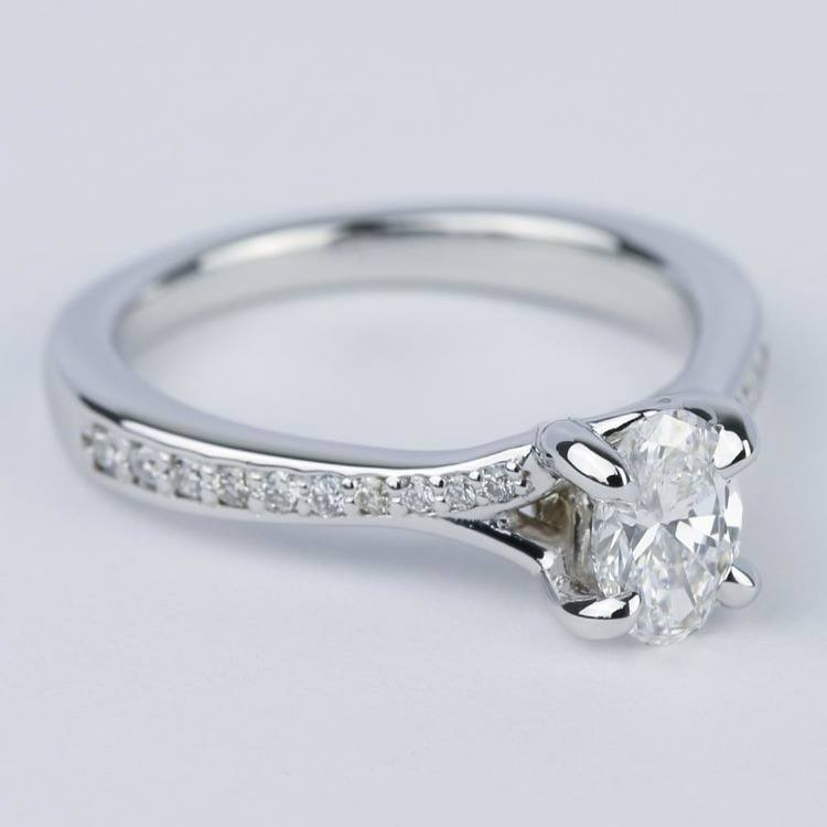 Split Shank Micropave Oval Diamond Engagement Ring (1/2 Carat) angle 3